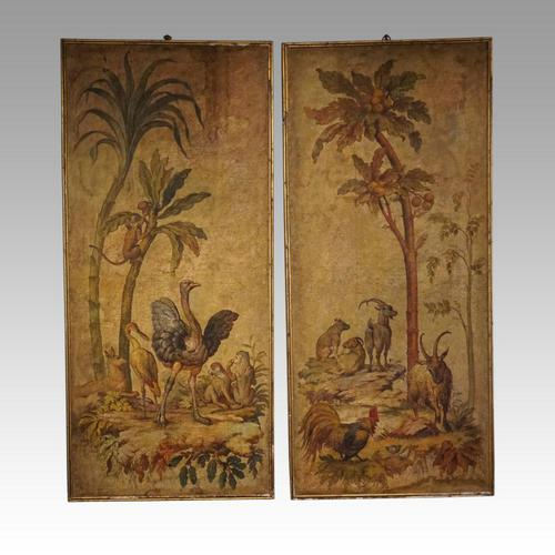 Pair of Large Antique Painted Wall Panels (1 of 10)