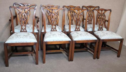Set of Eight Mahogany Chippendale Style Chairs G.t.rackstraw - Droitwich (1 of 12)