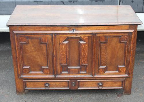 1850's Oak Coffer with Drawer at Base + Original Hinges (1 of 4)