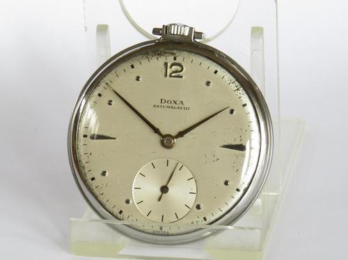 1930s Stainless Steel Doxa Pocket Watch (1 of 4)