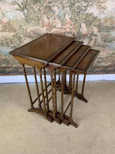 Late 19thC Nest Of Four Tables with Brass Banding (1 of 7)