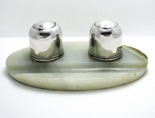 Elegant Art Deco 1927 Solid Sterling Silver & Green Marble Double Inkwell Desk Pen Ink Stand Pots (1 of 9)