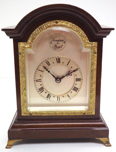 Impressive Mahogany Edwardian Bracket Clock Timepiece Mantel Clock (1 of 8)