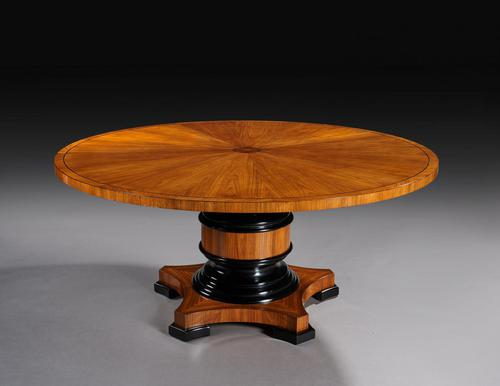 Circular Olive Wood and Ebony Dining Table (1 of 6)