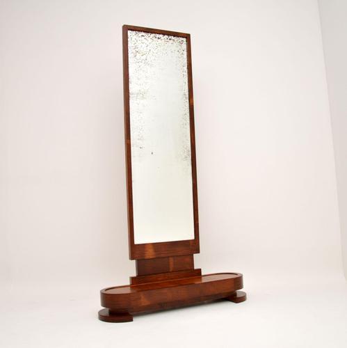Art Deco Satin Birch Floor Mirror (1 of 11)