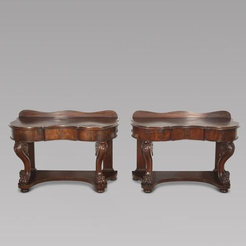 Pair of English 19th Century Mahogany Console Tables (1 of 5)