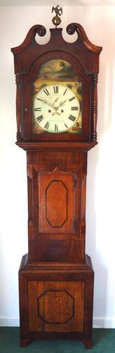 Antique Longcase Clock Fine English Oak Striking Grandfather Clock Painted Dial (1 of 10)