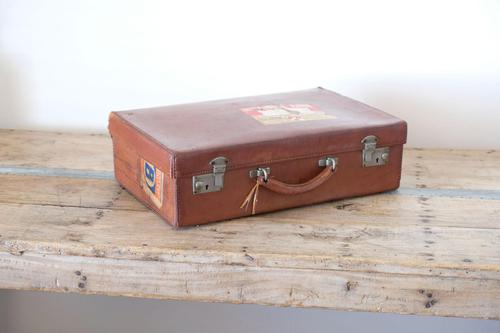 Large Vintage Brown Leather Suitcase (1 of 15)