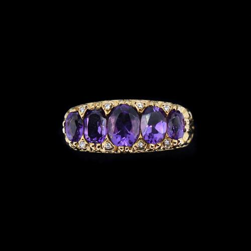 Vintage Amethyst and Diamond Chunky Scroll Five Stone 9ct 9K Yellow Gold Ring Band (1 of 10)