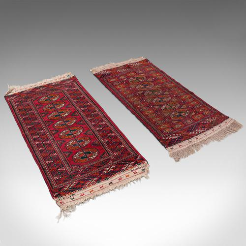 Antique Near Pair, Bokhara Rugs, Turkoman, Tekke, Carpet, Wall Covering, C.1910 (1 of 12)