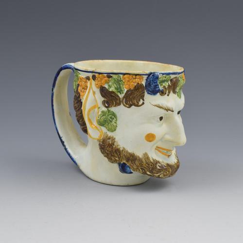 Staffordshire Prattware Pearlware Bacchus / Satyr Mug c.1800 (1 of 10)