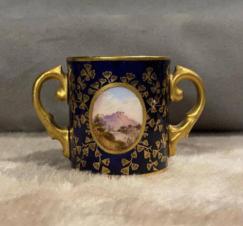 Miniature Coalport Hand Painted & Guilded Loving Cup (1 of 6)