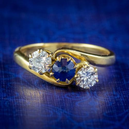 Antique Edwardian Sapphire Diamond Trilogy Twist Ring 18ct Gold Circa 1905 (1 of 8)