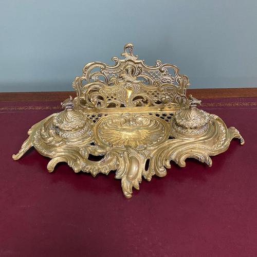 Superb Quality Antique Brass Inkwell Letter Holder Desk Set (1 of 5)