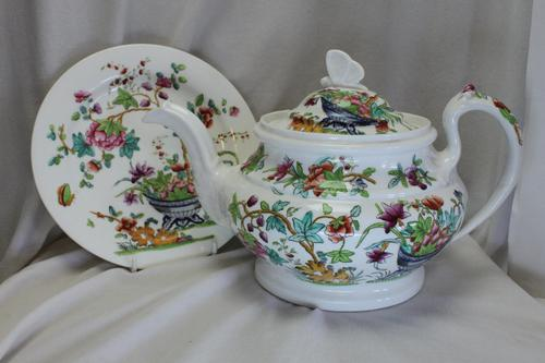 Ridgway Hand Coloured Porcelain Teapot and Stand (1 of 6)