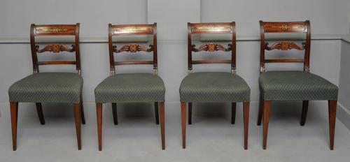 Set of Four Regency Mahogany & Brass Inlaid Dining Chairs (1 of 10)