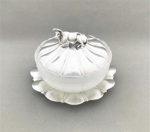 Fabulous William IV silver & glass butter dish (1 of 5)