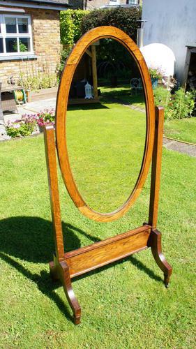 1930's Art Deco Oak  Cheval Mirror (1 of 18)