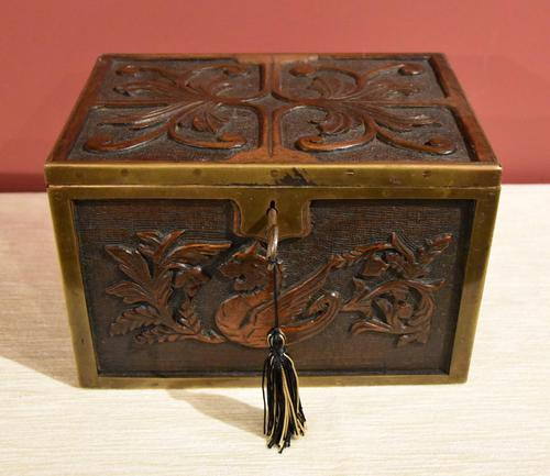 Continental 19th Century Carved Oak Casket Box (1 of 8)