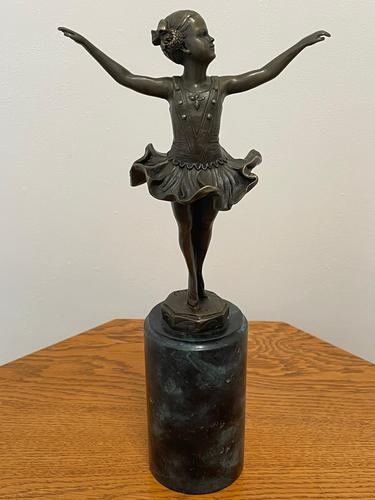 Charming  German Art Deco Style Bronze Sculpture Dancing Young Ballerina Girl (1 of 24)