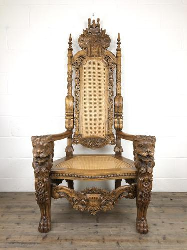 Large Carved Wooden Lion Throne Chair (1 of 10)