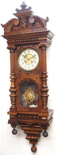 Wow! Antique German Spring Driven Quarter Striking Ting Tang 8- day Vienna Wall Clock (1 of 14)