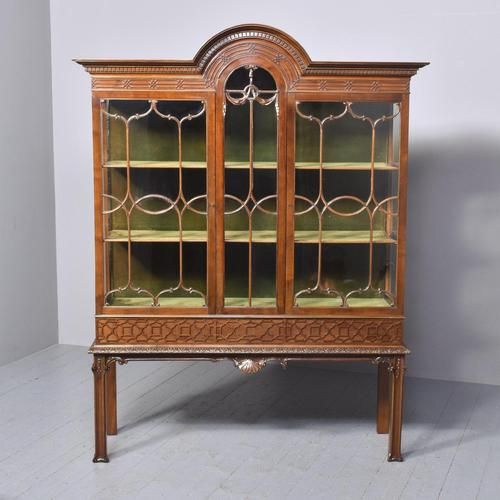 Antique Chinese Chippendale Mahogany Display Cabinet (1 of 13)