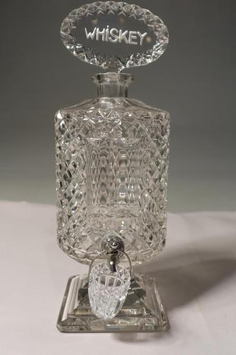 An Extremely Rare Late 19th Century Lead Crystal Cut Glass Whiskey Dispenser (1 of 6)