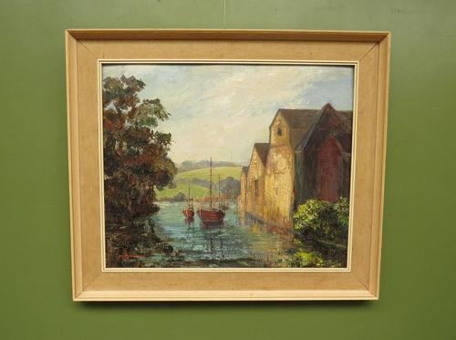 Large Framed Oil Painting of Boats at Totnes by Dorothy Bradshaw (1 of 13)