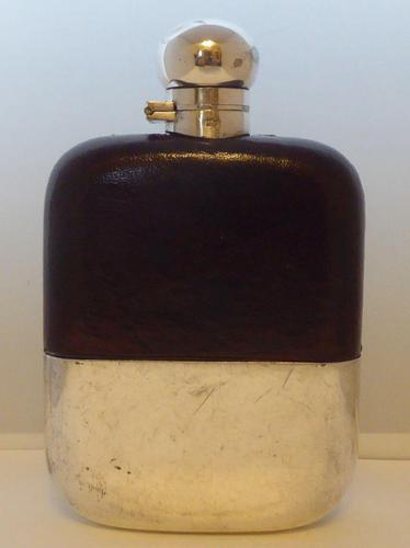 Silver Plated Palm Leather Bound Glass Hip Flask James Dixon 1/16 Pint c.1930 (1 of 12)