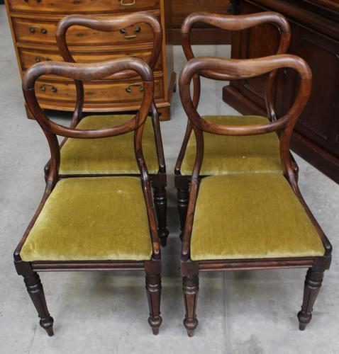 1940's Mahogany Set 4 Heart shape Dining chairs with Pop out Seats (1 of 3)