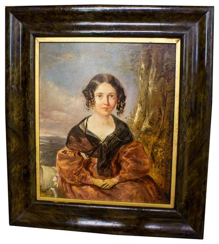 Victorian Oil Painting - Portrait of a Lady with Wringlets (1 of 9)