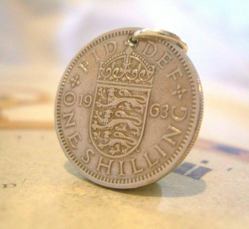 Vintage Pocket Watch Chain Fob 1963 Lucky Silver One Shilling Old 5d Coin Fob (1 of 7)