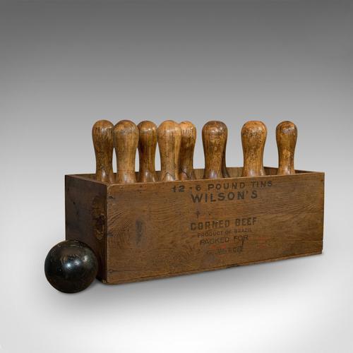 Set Of Antique Skittles, English, Beech, 10 Pins, Ball, Case, Victorian c.1900 (1 of 10)