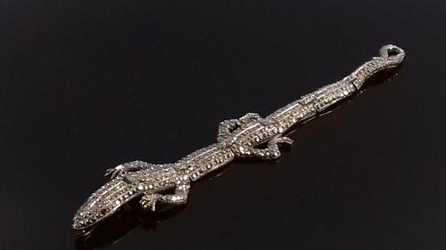Art Deco Marcasite Ruby Paste Lizard Bracelet (1 of 16)