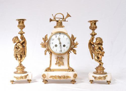 Antique Clock Set French Garniture Gilt & Marble Cherubs (1 of 14)
