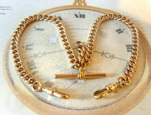 Victorian Pocket Watch Chain 1890s Large 10ct Rose Gold Filled Double Albert & T Bar (1 of 11)