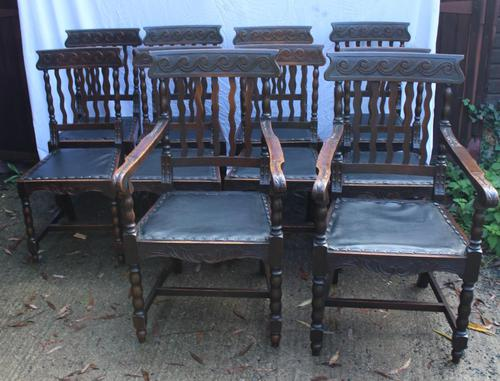 1910's Dark Oak Set of 10 Carved Dining Chairs with Pop out Seats. 8+2 Carvers (1 of 5)