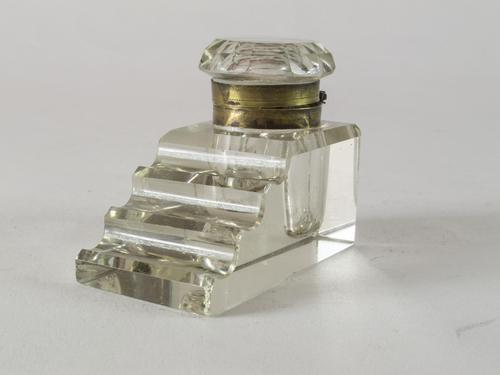 Art Deco Heavy Glass Ink Well (1 of 5)