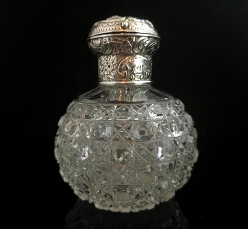 Antique Victorian Scent Bottle, Cut Glass, Sterling Silver (1 of 12)