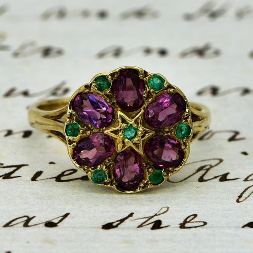 The Vintage Garnet & Emerald Cluster Ring (1 of 3)