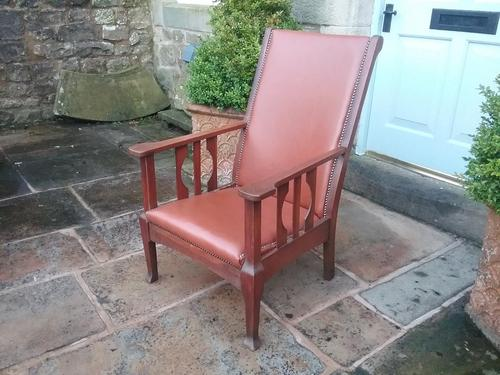 Arts & Crafts Leather Armchair (1 of 4)
