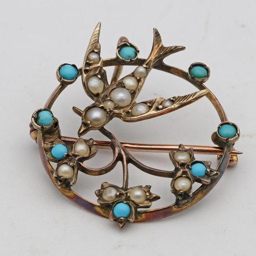 Edwardian Circular Brooch / Pendant with Swallow & Pearls & Turquoise (1 of 2)