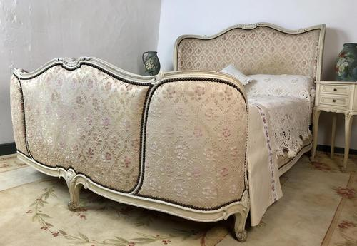 Antique French Full Corbeille King Size Bed Frame Curved Headboard & Footboard (1 of 13)