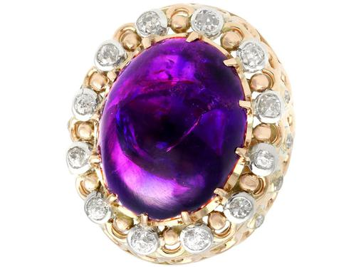 21.43ct Amethyst & 1.07ct Diamond, 14ct Yellow Gold Dress Ring - Vintage c.1960 (1 of 9)