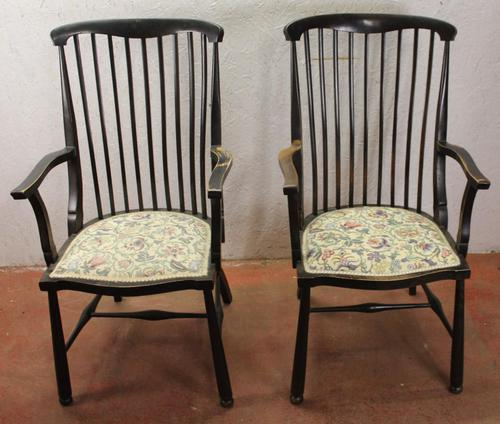 1918 Pair of Arts and Crafts style Oak Arm Chairs (1 of 4)