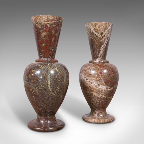 Pair of Antique Decorative Posy Vases, English, Granite, Flower Urn, Victorian (1 of 12)