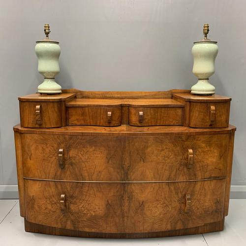 Art Deco Bow Front Chest of Drawers in Walnut (1 of 8)
