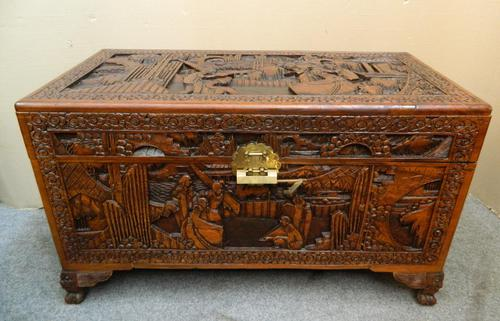 Oriental Carved Camphor Wood Trunk (1 of 7)