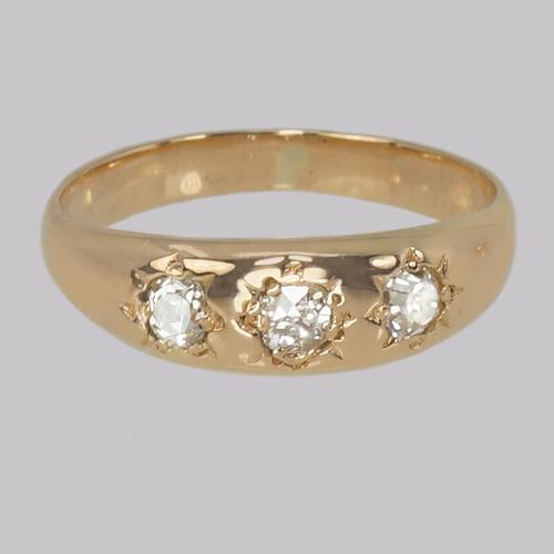 Antique Diamond Trilogy Ring 18ct Gold Edwardian Three Stone Diamond Gypsy Ring (1 of 7)